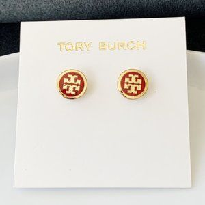 Tory Burch-red logo earrings